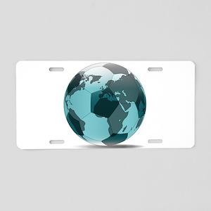 Football World Globe Aluminum License Plate