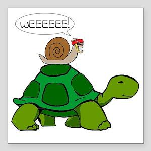 """Snail & Turtle Square Car Magnet 3"""" x 3"""""""