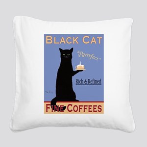 Black Cat Coffee Square Canvas Pillow