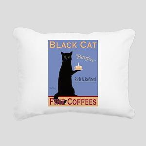Black Cat Coffee Rectangular Canvas Pillow