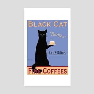 Black Cat Coffee Sticker (Rectangle)