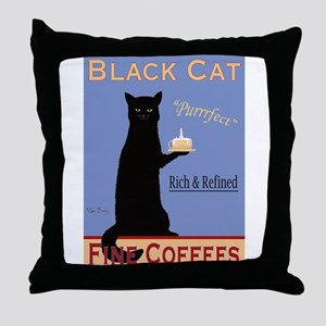Black Cat Coffee Throw Pillow