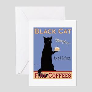 Black Cat Coffee Greeting Card