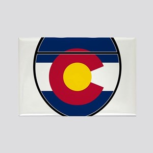 Colorado Flag In An Interstate Sign Magnets