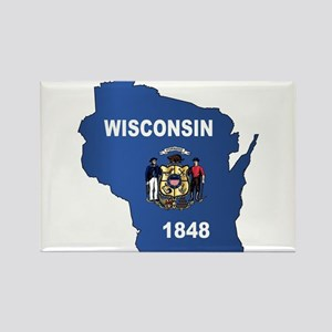 Wisconsin Outline Map And Flag Magnets