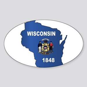 Wisconsin Outline Map And Flag Sticker
