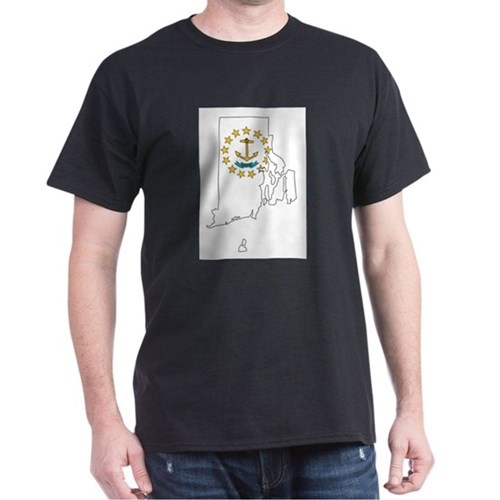 Rhode Island Outline Map and Flag T-Shirt