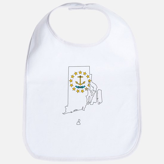Rhode Island Outline Map and Flag Baby Bib