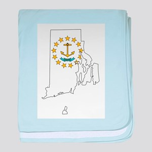 Rhode Island Outline Map and Flag baby blanket