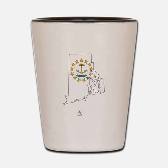 Rhode Island Outline Map and Flag Shot Glass