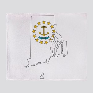 Rhode Island Outline Map and Flag Throw Blanket