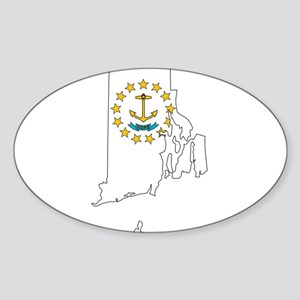 Rhode Island Outline Map and Flag Sticker