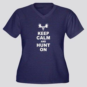 Keep Calm and Hunt On Women's Plus Size V-Neck Dar