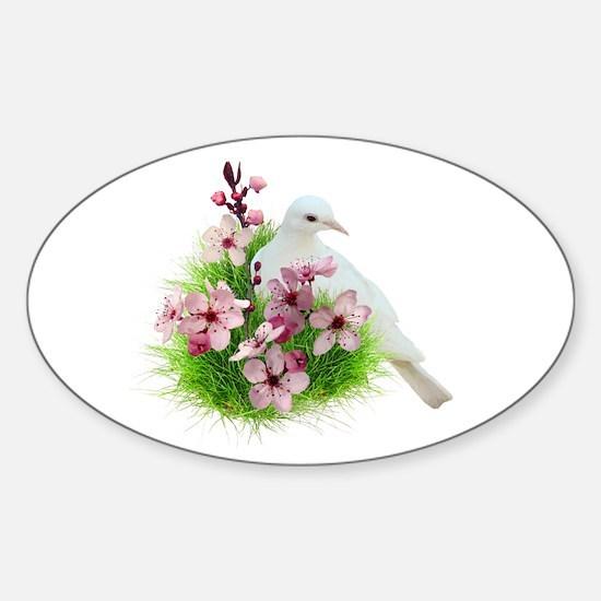 Spring Dove Sticker (Oval)