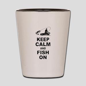 Keep Calm and Fish On Shot Glass