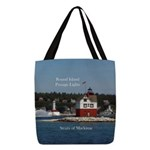 Round Island Passage Lights Polyester Tote Bag