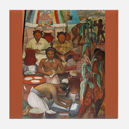 Diego Rivera Mural Art Tile Coaster Maize (Corn)