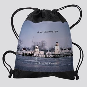 Grassy Island Range Lights Drawstring Bag