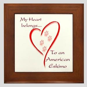 Eskimo Dog Heart Belongs Framed Tile