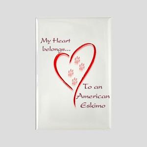 Eskimo Dog Heart Belongs Rectangle Magnet