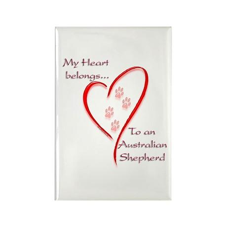 Aussie Heart Belongs Rectangle Magnet