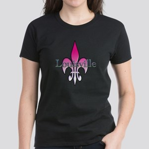 Pink Fleur de Lis Louisville Women's Dark T-Shirt
