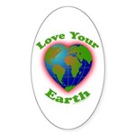 Love Your Earth Heart Sticker (Oval)
