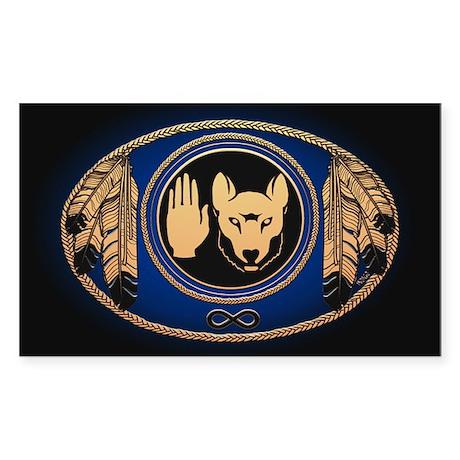 Metis Wolf Flag Native Art Sticker (Rectangle)