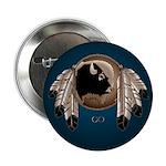Native Art Button Wildlife Buffalo, Eagle Feathers