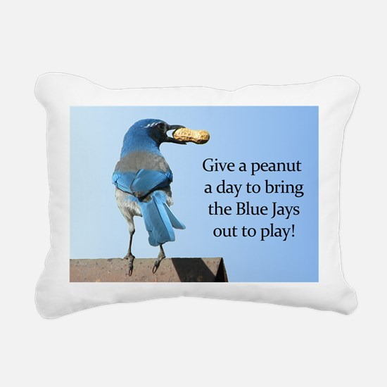 Blue Jay and Peanut Rectangular Canvas Pillow