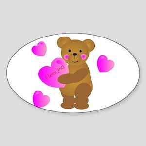 Teddy Bear Love Oval Sticker