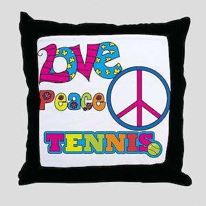 Love Peace Tennis Throw Pillow
