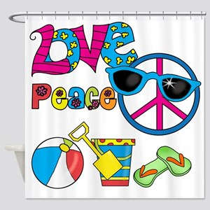 Love Peace Beach Shower Curtain