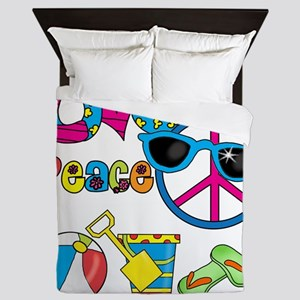 Love Peace Beach Queen Duvet