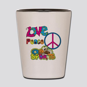 Love Peace Sports Shot Glass