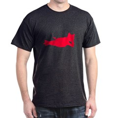 Reclining Pig Red Silhouette T