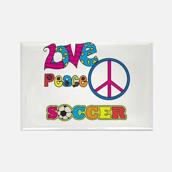 Love Peace Soccer Rectangle Magnet