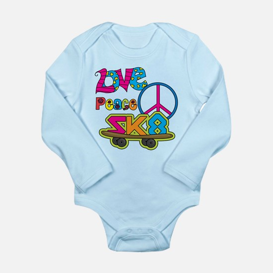 Love Peace Skate Long Sleeve Infant Bodysuit