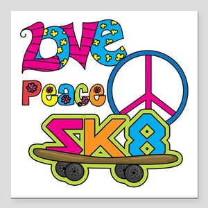 "Love Peace Skate Square Car Magnet 3"" x 3"""