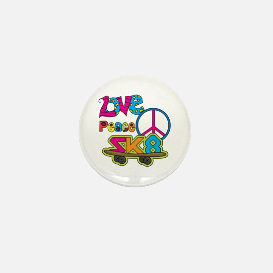 Love Peace Skate Mini Button