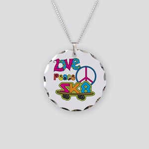 Love Peace Skate Necklace Circle Charm