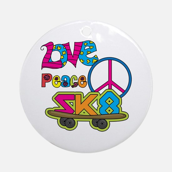 Love Peace Skate Ornament (Round)