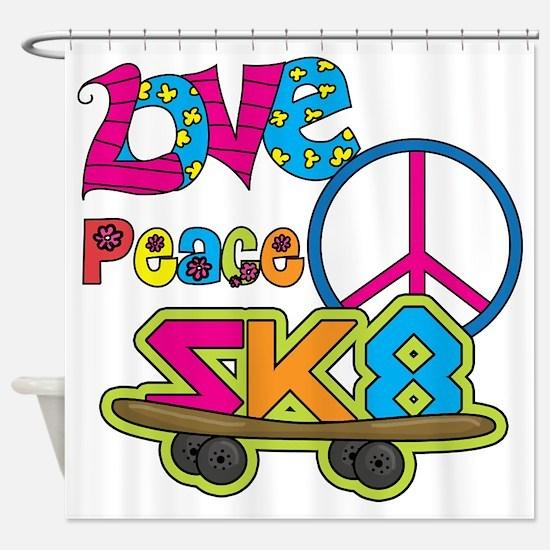 Love Peace Skate Shower Curtain