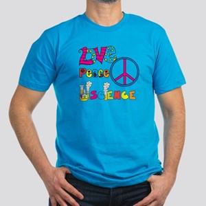 Love Peace Science Men's Fitted T-Shirt (dark)
