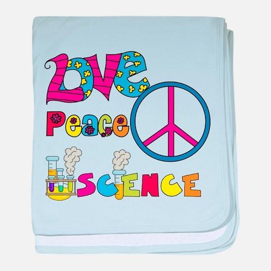 Love Peace Science baby blanket