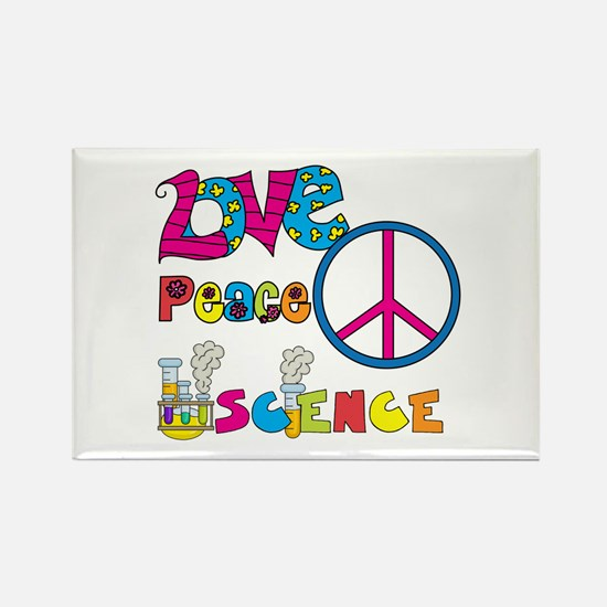 Love Peace Science Rectangle Magnet
