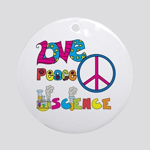 Love Peace Science Ornament (Round)
