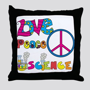 Love Peace Science Throw Pillow
