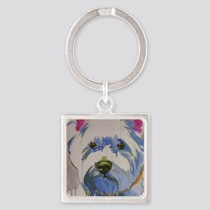 Westie Ungroomed Square Keychain