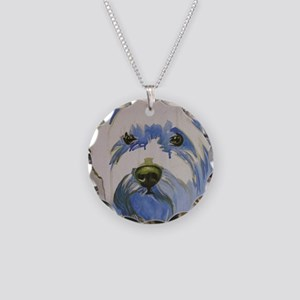 Westie Ungroomed Necklace Circle Charm